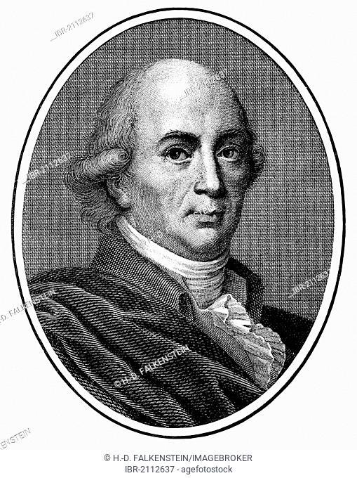 Historic print, copper engraving, 1794, portrait of Johann Gottfried von Herder, 1744 - 1803, a German poet, translator, theologian and philosopher