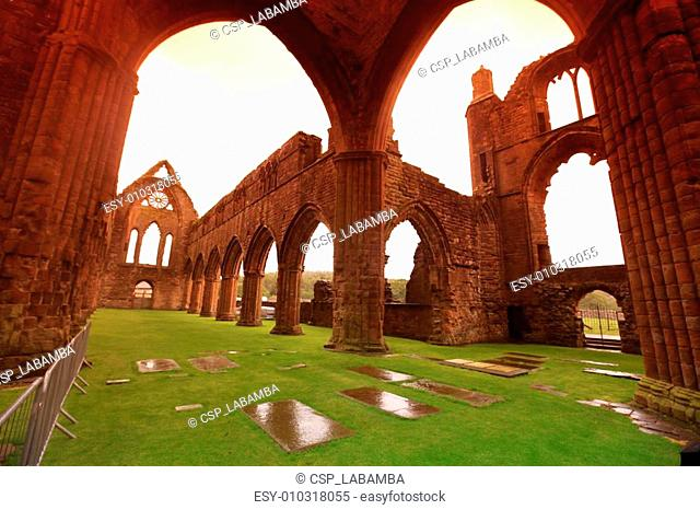 Sweetheart Abbey, ruined Cistercian monastery near to the Nith in south-west Scotland, UK