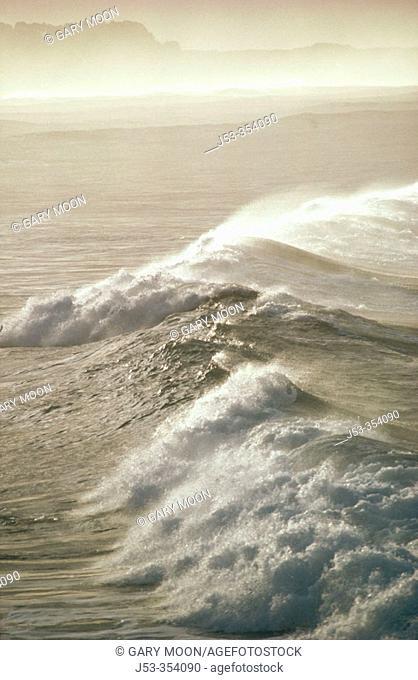 Windblown waves, Pacific Ocean. San mateo County, California. USA