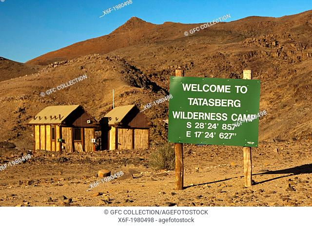 Welcome sign with GPS location information at the entrance to the Tatasberg Wilderness Camp, Richtersveld Transfrontier National Park, Northern Cape Province
