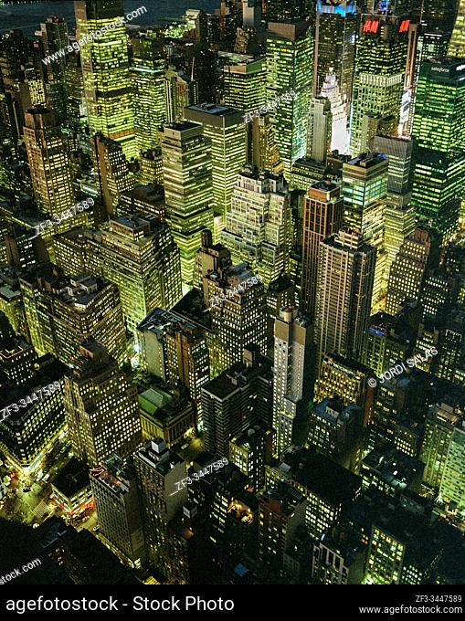 View of Manhattan midtown from the top of the Empire state building at night, New York City