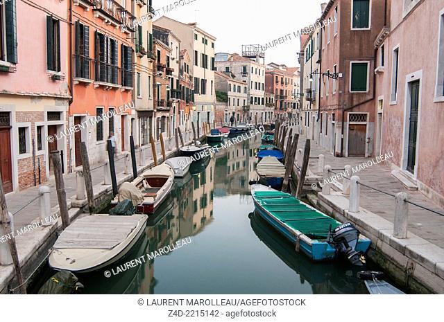 Canal in Dorsoduro District. Venice, Veneto region, Italy, Europe