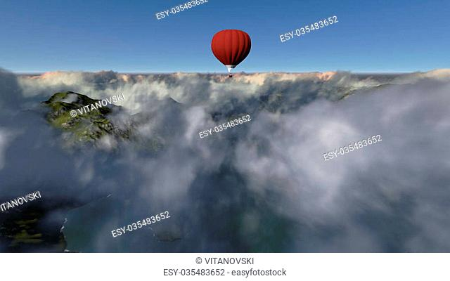 red hot air balloon against blue sky made in 3d software