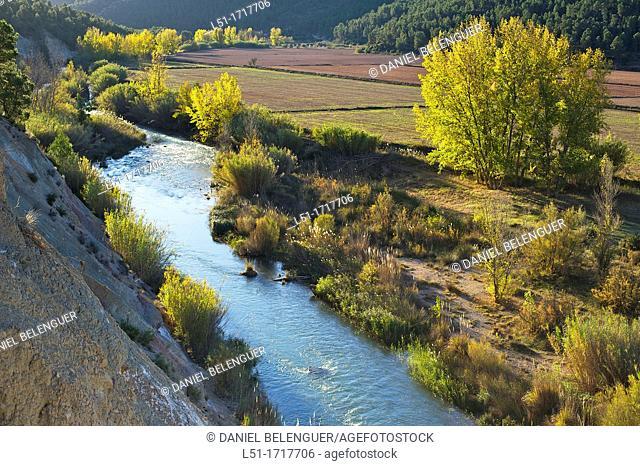Autumn landscape and Cabriel river, Hoces del cabriel Nature reserve, Casas del Rio, Valencia, Spain