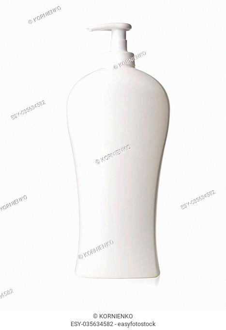 white cosmetic bottle isolated on white