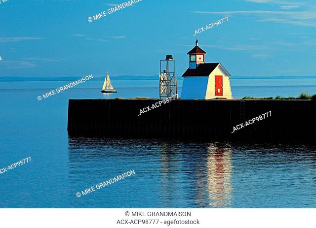 Wood Islands Light Station and sailboat on the Northumberland Strait Wood Islands Prince Edward Island Canada
