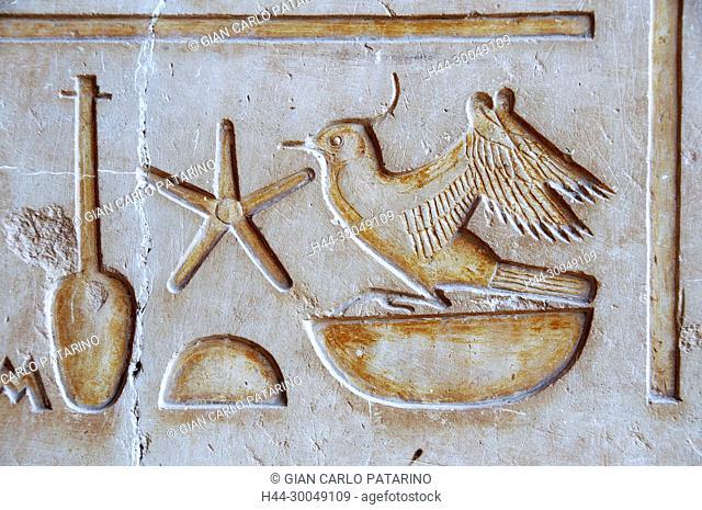 Abydos, Egypt, the mortuary temple of pharaoh Seti I, Menmaatra, (XIX° dyn. 1321-1186 B.C.) - Hieroglyphs on a wall