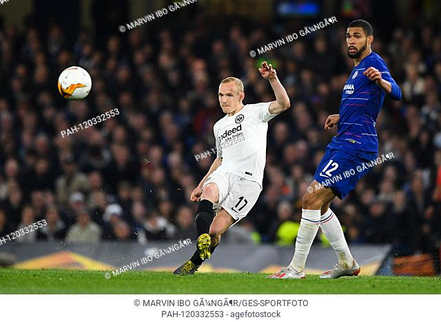 Sebastian Rode (Eintracht Frankfurt, l.) Versus Ruben Loftus-Cheek (Chelsea, r.). GES / Football: UEFA Europa League semi-final