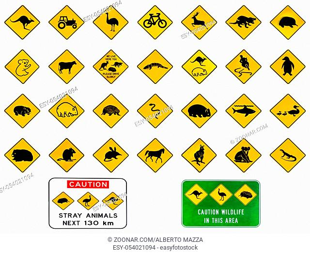 Australian warning road signs from Australia highways. Wildlife animals: Emu, Echidna, Tasmanian Devil, Wombat, Kangaroo, Penguin, Shark