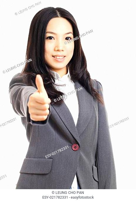 Asian business woman with thumb up hand