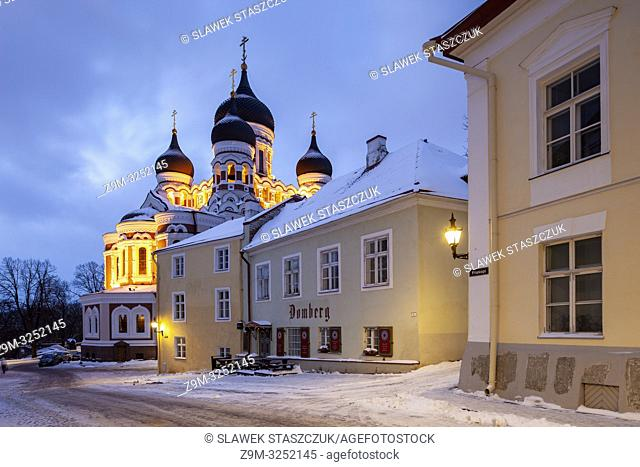 Winter dawn in Tallinn old town, Estonia. Alexander Nevsky cathedral in the distance