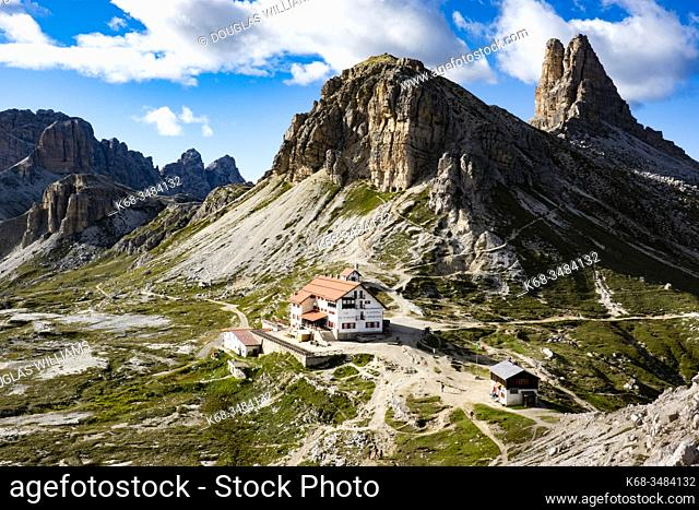 Drei Zinnen Hut or Locatelli Refuge near the peaks of Drei Zinnen or Tre Cime, Dolomites, Italy