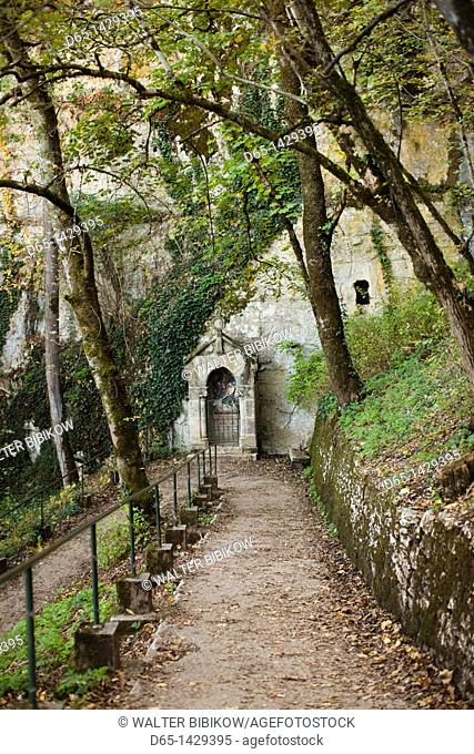 France, Midi-Pyrenees Region, Lot Department, Rocamador, Stations of the Cross, path to the chateau