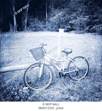A bicycle locked to a fence in the country