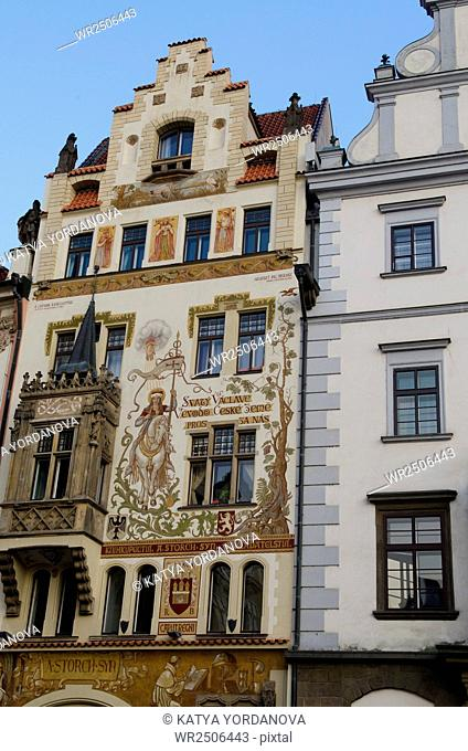 The facades of houses in the Old Town of Prague