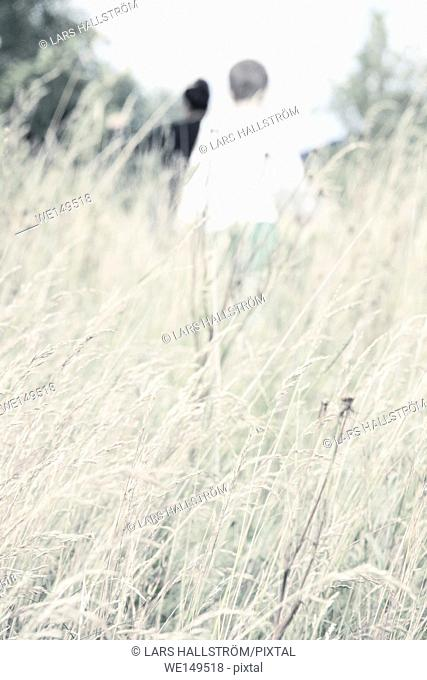 Child walking in meadow. Lifestyle image of childhood summer adventure. Exploring nature