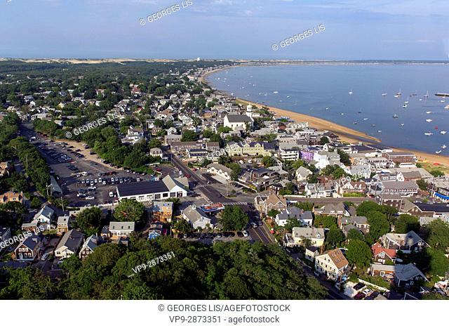 Provincetown general and harbour / port sight from Pilgrim Monument Cape Cod Provincetown MA USA Massachussets