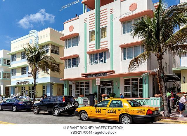 Art Deco Hotels, Ocean Drive, South Beach, Miami, Florida, USA