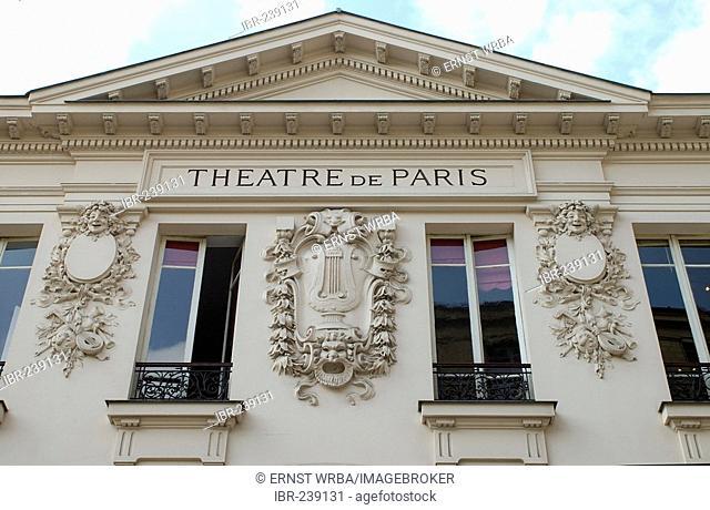 Theatre de Paris, gable, Montmartre, Paris, Ile-de-France, France
