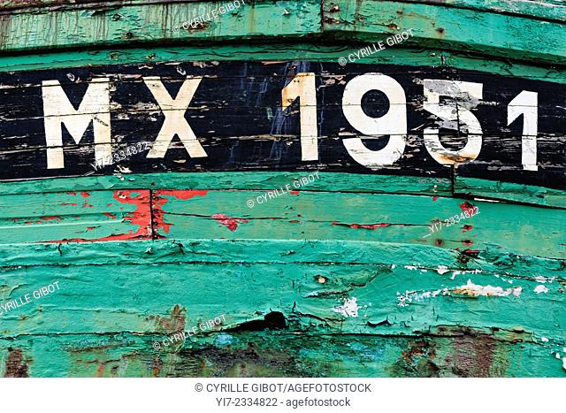 France, Brittany, Finistere, boat cemetery, detail of boat hull
