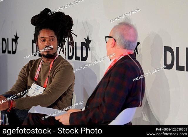 19 January 2020, Bavaria, Munich: (l-r) Julien Creuzet (Visual artist, video-maker, performer and poet) and Hans Ulrich Obrist (Artistic Director of the...