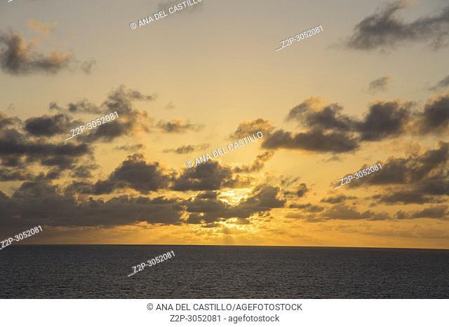 Sunset over the Caribbean sea