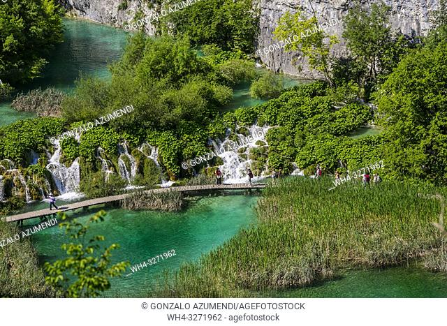 Plitvice Lakes National Park. Lika Plješivica mountain range . The park falls within two counties Lika-Senj and Karlovac