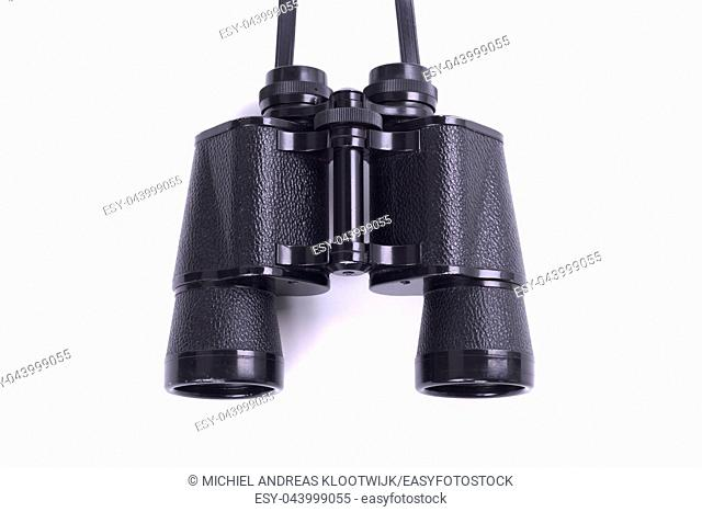 Vintage binoculars isolated, isolated on a white background
