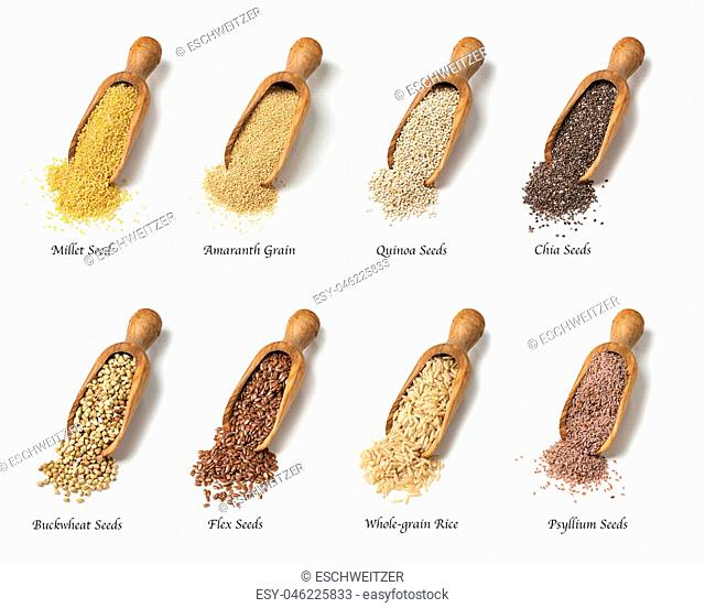 Wooden spoons with gluten free seeds