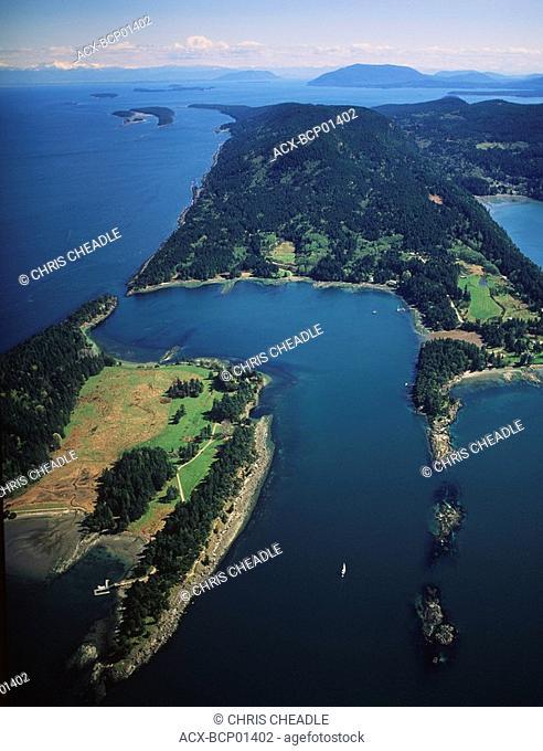 3 Gulf Islands, Saturna Island aerial at Winter Cove, British Columbia, Canada