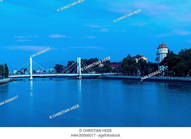 Asia, Asian, Southeast Asia, Vietnam, Southern, Binh Thuan Province, Phan Thiet, river bridge