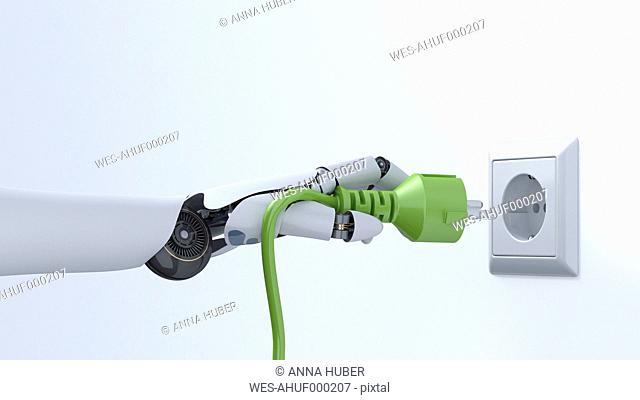Robot hand with green plug, plug socket, 3D Rendering
