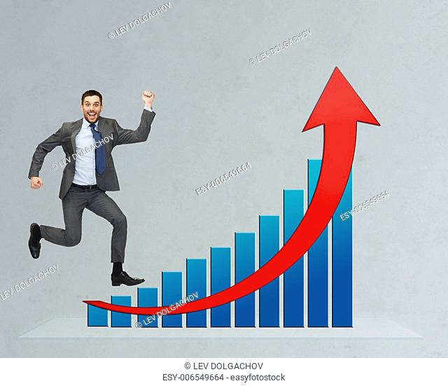 business, people, success, career and development concept - happy businessman jumping over growth chart and gray background