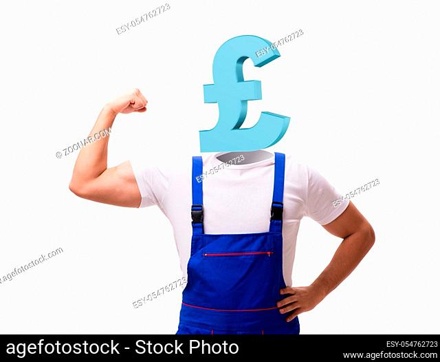 The worker with yen head in business concept