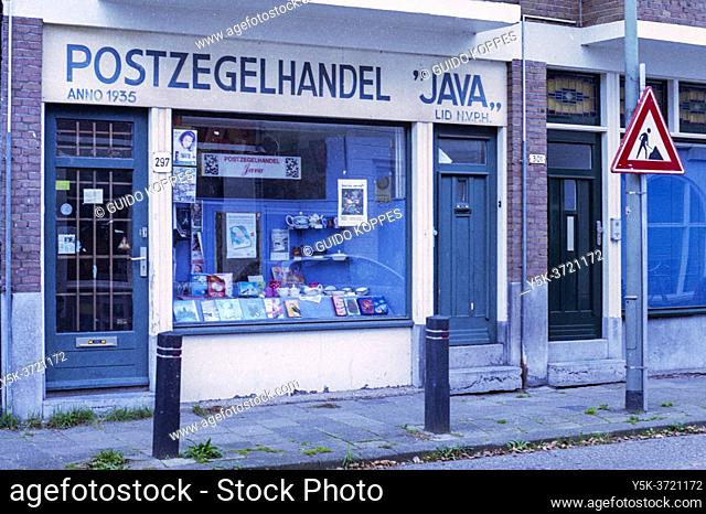 Schiedam, Netherlands. Old Fashioned & Retrospective Stamp Shop, often visited by Collectors to update their Collection