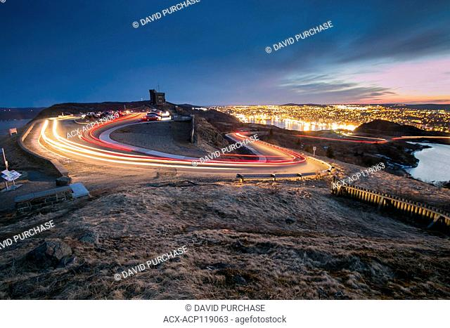 long exposure light trails at Cabot Tower, Signal Hill National Historic Site, St. Johns, Newfoundland and Labrador