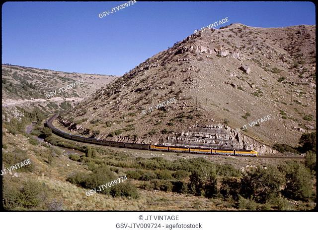 California Zephyr Train Curving Around Mountain, Utah, USA, 1965