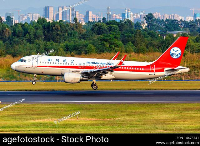 Chengdu, China ? September 22, 2019: Sichuan Airlines Airbus A320 airplane at Chengdu airport (CTU) in China