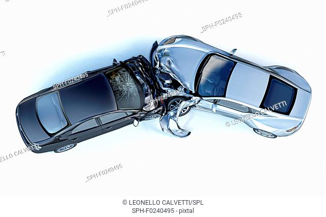 Two cars accident. Crashed cars. One silver sport car against one black sedan. Big damage. Isolated on white background. Viewed from the top