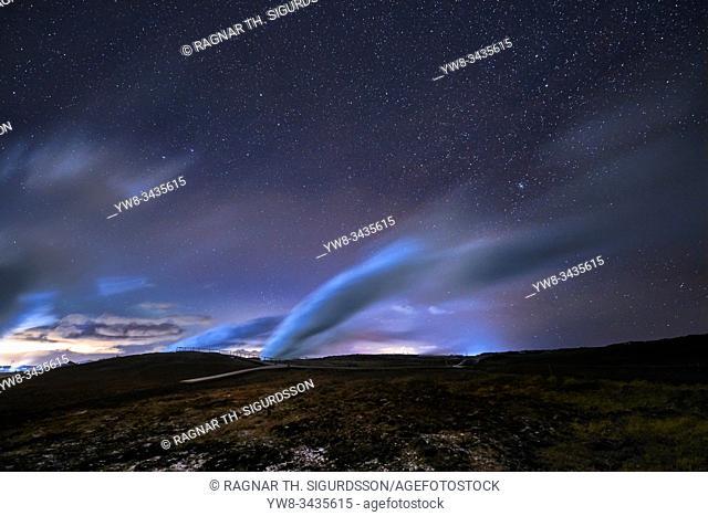 Aurora Borealis, Gunnuhver hot spring, Hitaveita Sudurnesja Geothermal Power Plant, Iceland