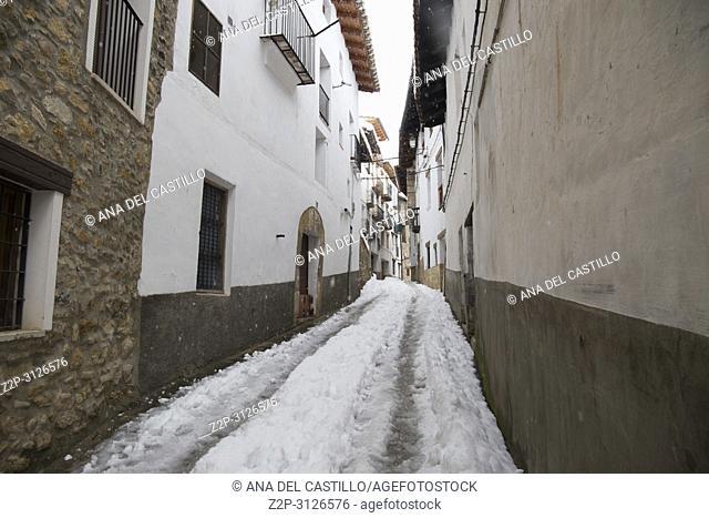 Beautiful winter mountains landscape Gudar sierra Teruel Aragon Linares de Mora is one of the most beautiful villages in Spain