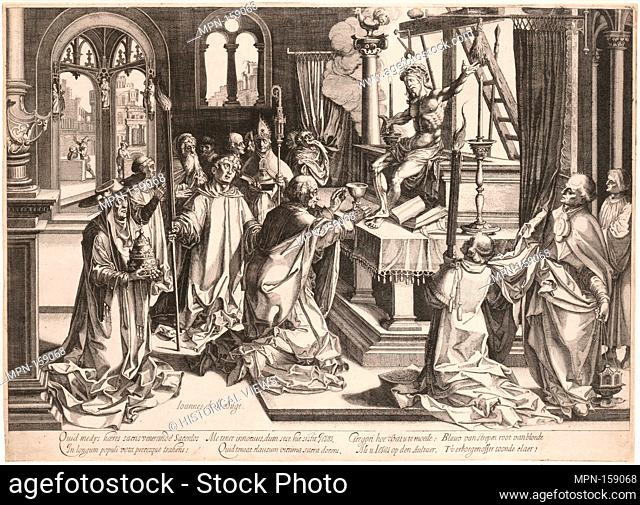 Mass of St. Gregory. Artist: Etched by Simon Wynhoutsz Frisius (Netherlandish, Harlingen ca. 1580-ca. 1628 The Hague); Artist: After Jan Gossart (called Mabuse)...