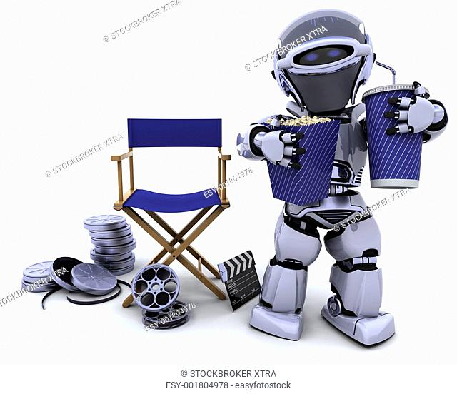 3D render of a robot with popcorn and soda with directors chair