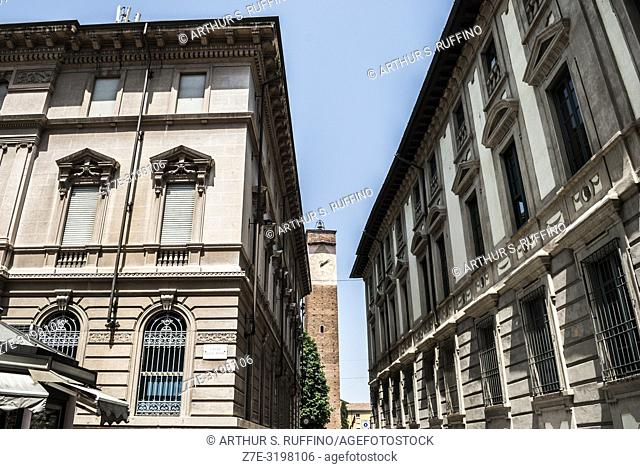 Architecture along Piazza della Posta, Pavia, Lombardy, Italy