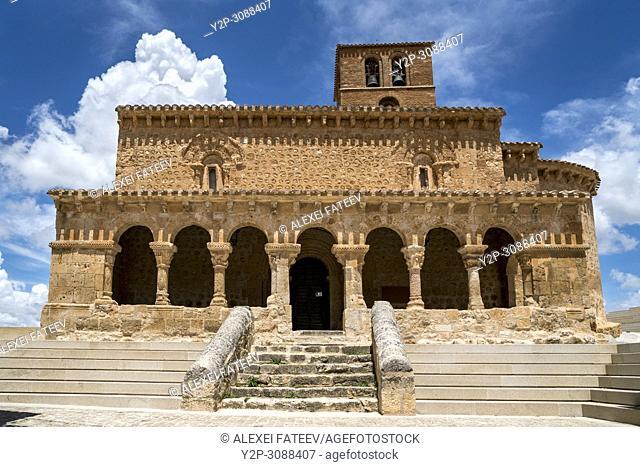 Romanesque church San Miguel of 11th centuryl in small town San Esteban de Gormaz in provincia Soria, Castile-Leon, Spain