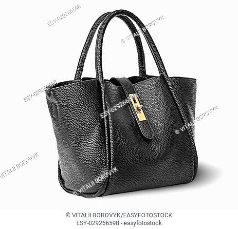 Black elegant leather ladies handbag rotated isolated on white background