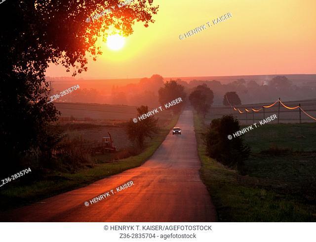 Road at sunset, Lesser Poland