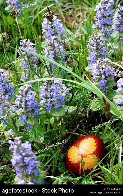 Decorated Easter egg hidden in the flowers. Saint-Gervais-les-Bains. Haute-Savoie. Auvergne Rhône-Alpes. France. Europe