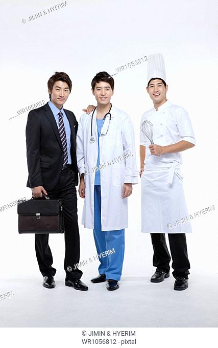 three men in different profession standing in a line
