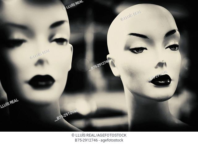 Close-up of the faces of a mannequins. London, England, UK